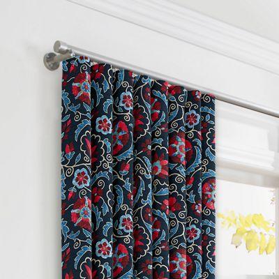 Red & Navy Blue Suzani Ripplefold Curtains