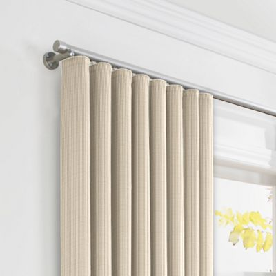 Beige Pinstripe Ripplefold Curtains