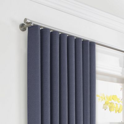 Navy Blue Lightweight Linen Ripplefold Curtains