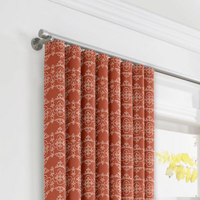 Orange Quatrefoil Block Print Ripplefold Curtains