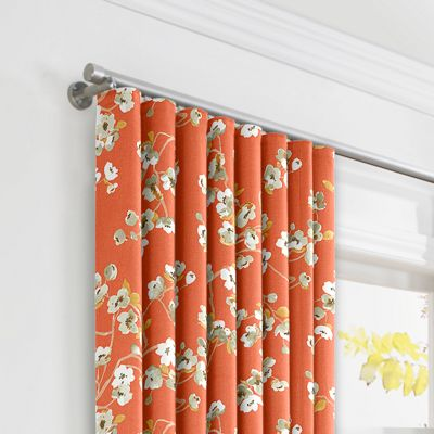Orange Cherry Blossom Ripplefold Curtains