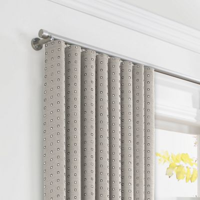 Silver Studded Taupe Ripplefold Curtains