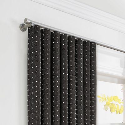 Silver Studded Charcoal Ripplefold Curtains