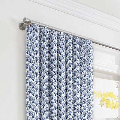 Nautical Blue Scallop Ripplefold Curtains