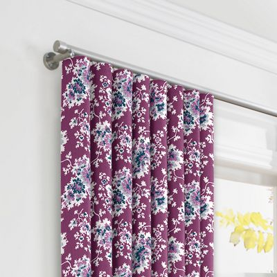 Purple & Teal Leaf Ripplefold Curtains