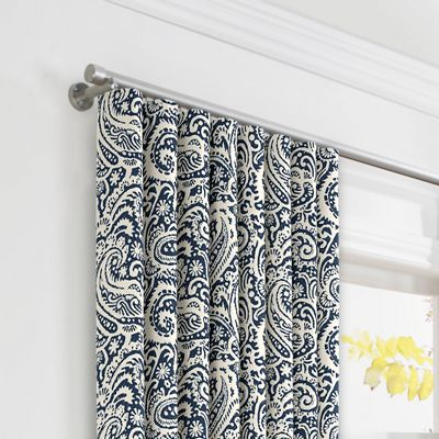 Navy Blue Paisley Ripplefold Curtains