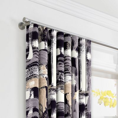 Black & White Brushstrokes Ripplefold Curtains