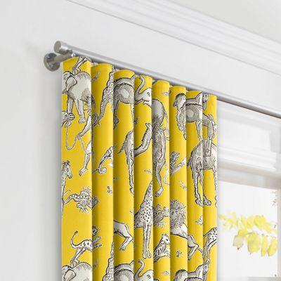 Yellow & Gray Zoo Animal Ripplefold Curtains