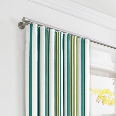 White, Teal & Green Stripe Ripplefold Curtains