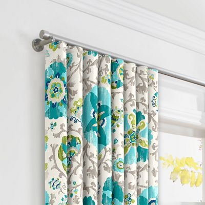 Aqua Blue Suzani Ripplefold Curtains