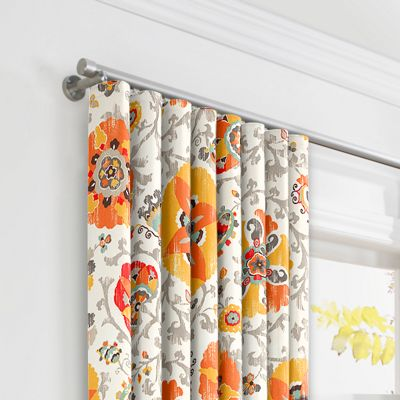 Orange Suzani Ripplefold Curtains