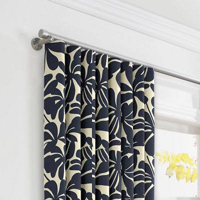 Navy Graphic Floral Ripplefold Curtains