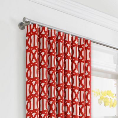 Coral Red Trellis Ripplefold Curtains