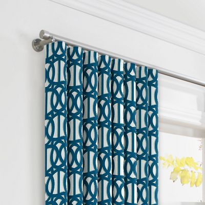 Bright Blue Trellis Ripplefold Curtains