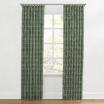 Modern Green Trellis Ripplefold Curtain