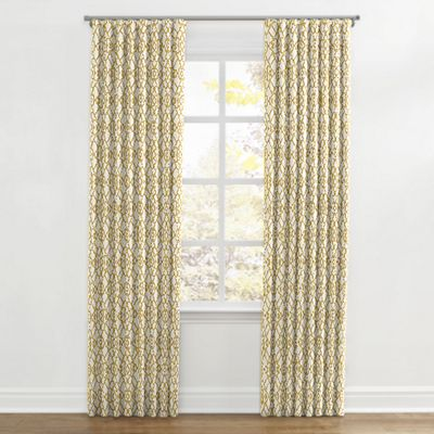 Yellow Trellis Scroll Ripplefold Curtains