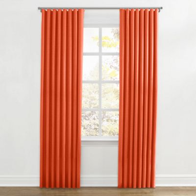 Solid Coral Linen Ripplefold Curtain