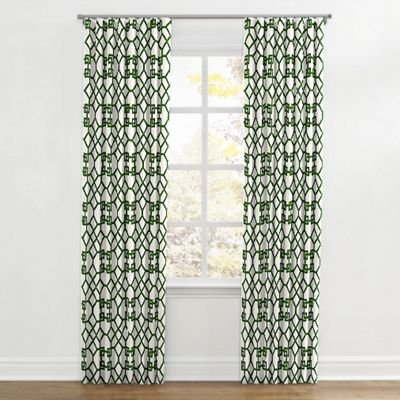Asian-Style Green Trellis Ripplefold Curtain