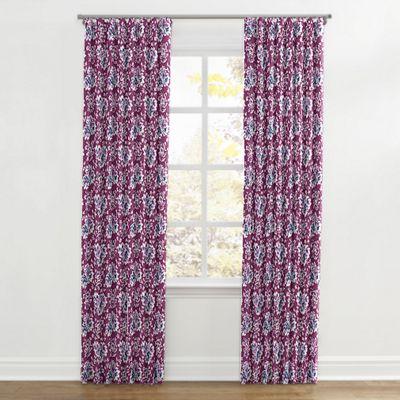 Purple & Teal Leaf Ripplefold Curtains