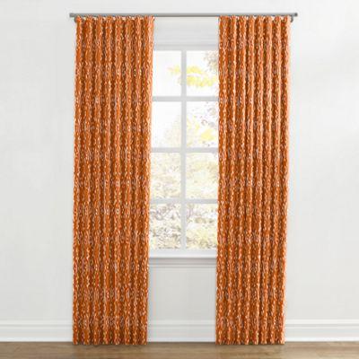 Orange and White Diamond Ripplefold Curtain
