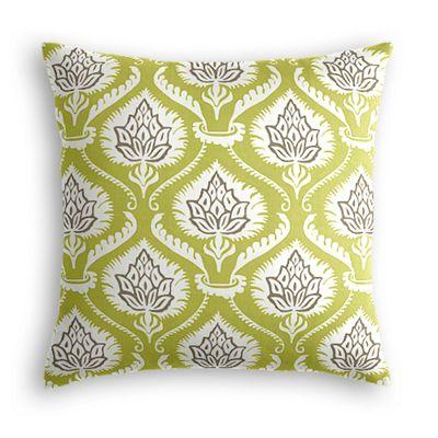 Green Damask Artichoke Throw Pillow