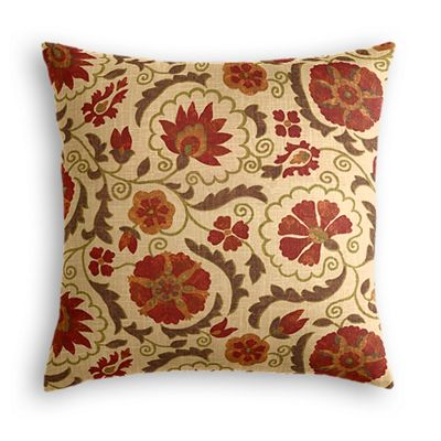 Beige & Red Suzani Pillow