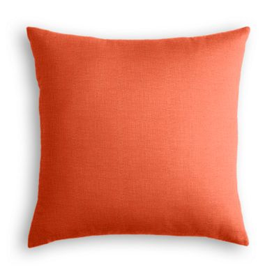 Solid Coral Linen Throw Pillow