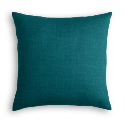 Dark Teal Linen Throw Pillow