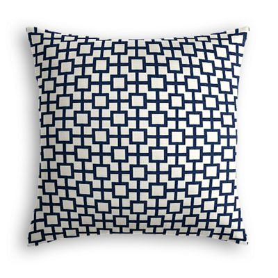 Navy Blue Square Trellis Pillow