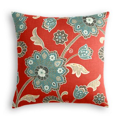 Modern Aqua & Red Floral Throw Pillow