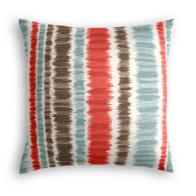 Aqua & Red Ikat Stripe Pillow