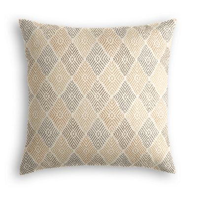 Beige Diamond Block Print Pillow
