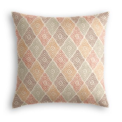 Orange Diamond Block Print Pillow