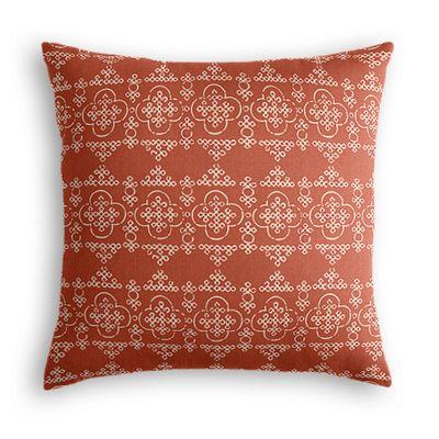Orange Quatrefoil Block Print Pillow