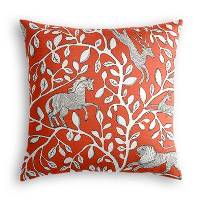 Red Modern Animal Motif Throw Pillow