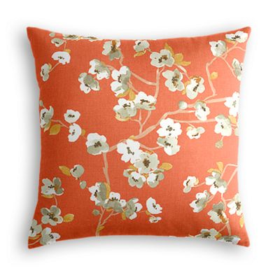 Orange Cherry Blossom Pillow
