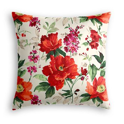 Bold Green & Red Floral Pillow