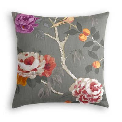 Painterly Pink & Gray Floral Pillow