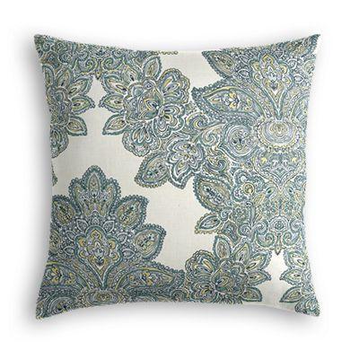 Paisley-Style Aqua Damask Pillow