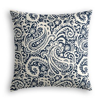 Navy Blue Paisley Pillow