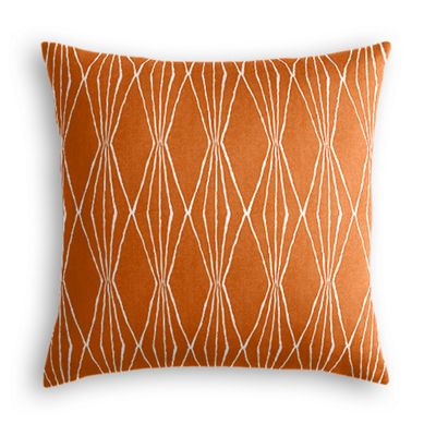 Orange and White Diamond Throw Pillow