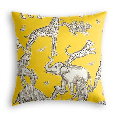 Yellow & Gray Zoo Animal Pillow