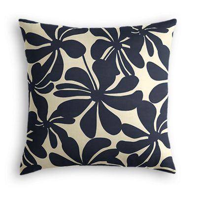 Navy Graphic Floral Pillow