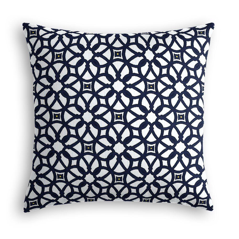 Blue Lattice Throw Pillow : Navy Blue Floral Lattice Throw Pillow Loom Decor