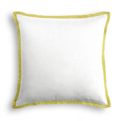 Solid Ivory Linen Pillow with Citrus Trim