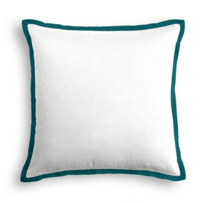 Solid Ivory Linen Pillow with Dark Teal Trim