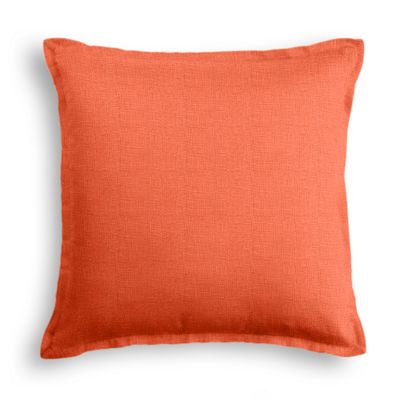 Solid Coral Linen Pillow with Coral Trim