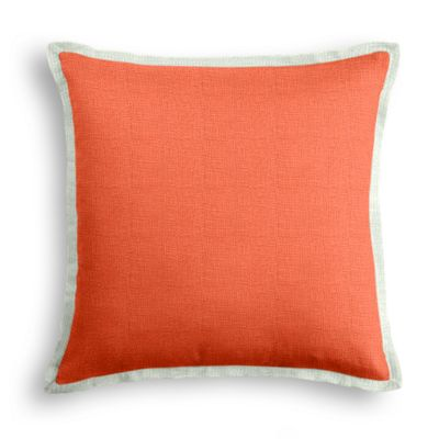 Solid Coral Linen Pillow with Pale Seafoam Trim