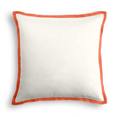 ivory Linen Pillow with Coral Trim