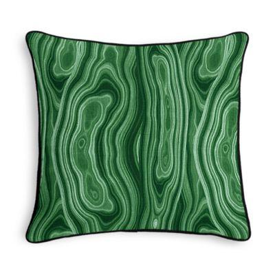 Marbled Green Malachite Throw Pillow